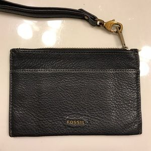 Black Fossil Leather Clutch - barely used.